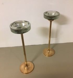 2 x tuhkakuppi / valettu pronssi / nuutajärven kristallilasi